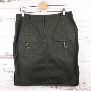 🐢 INC Army Green Khaki Mini Skirt Front Pockets